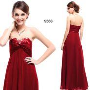 Красное вечернее платье без бретелей с кристаллами