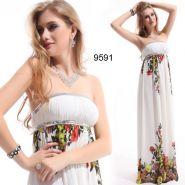 Белое платье в пол с цветочным принтом