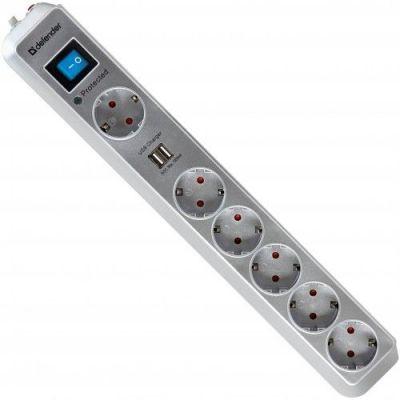 Сетевой фильтр DFS 501 2,0м, 2 USB-порта, 6 розеток