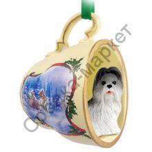 Ши-тцу новогоднее украшение-чашка «Зимняя прогулка»
