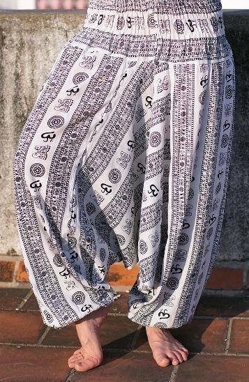 Белые штаны алладины с омчиками