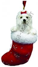 Мальтезе новогоднее украшение «Собака в сапожке»