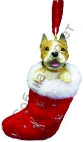 Американский пит бультерьер новогоднее украшение «Собака в сапожке»