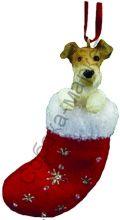 Фокс терьер жесткошерстный новогоднее украшение «Собака в сапожке»