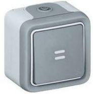 Выключатель-переключатель Plexo с подсветкой IP55  серый (арт.69713)