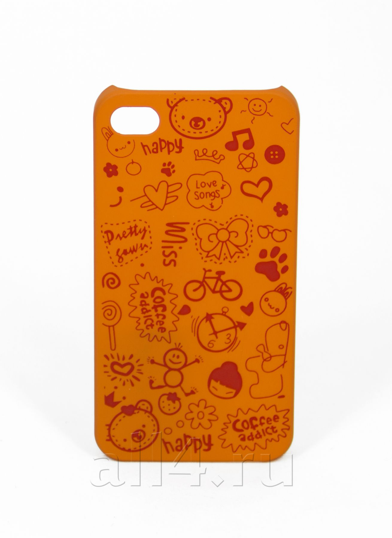 Чехол для iPhone 4/4s Happy оранжевый