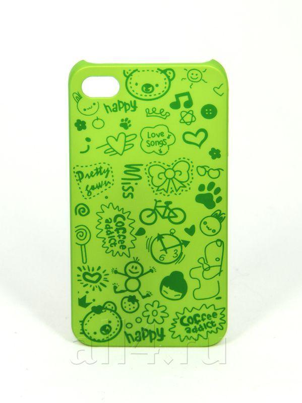 Чехол для iPhone 4/4s Happy салатовый