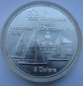 """Парусник """"Kingston"""".XXI Олимпийские игры в Монреале`76 .5 Долларов .1973"""
