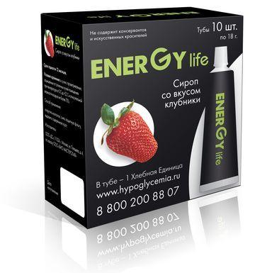 Сироп ENERGY LIFE ® клубничный. В Тубе - 1 Хлебная Единица. 13.4 углеводов.  В упаковке 10 туб.