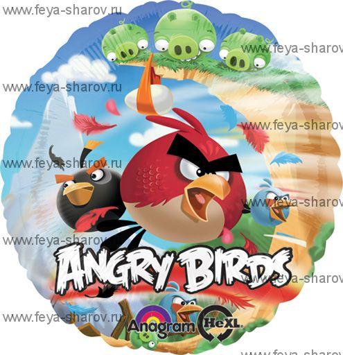 Шар фольгированный angry birds 46 см