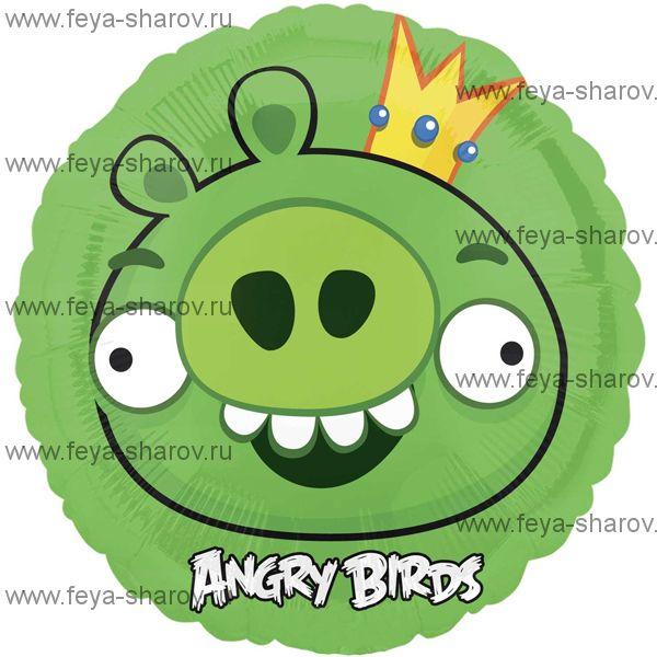 Шар фольгированный angry birds Король свиней 46 см