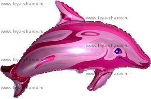 Шар фольгированный дельфин розовый 61 см