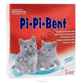 """Наполнитель """"Pi-Pi-Bent"""" комкующийся для котят коробка 5 кг"""