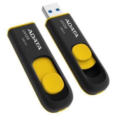 16GB USB 3.0 флэш накопитель ADATA UV128 черно-желтая выдвижная