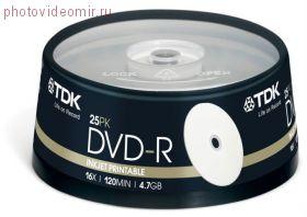 Диски TDK DVD+R 4,7Gb 16x Printable cake box 25
