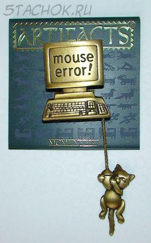 "Брошь ""Котенок и компьютер"" под бронзу"