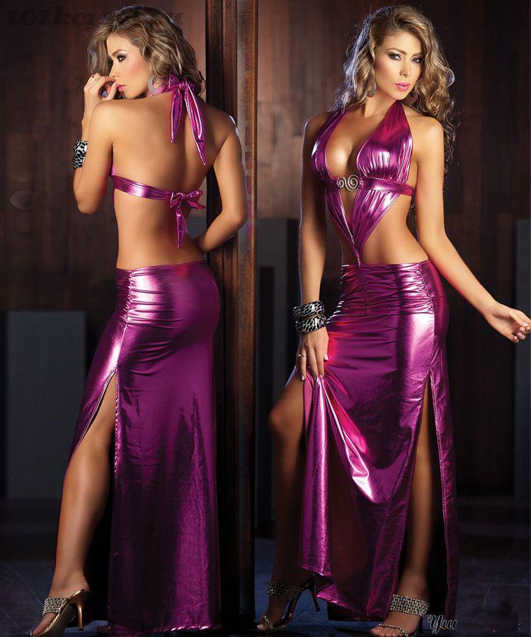 """Длинное сиреневое блестящее платье с """"влажным"""" эффектом"""