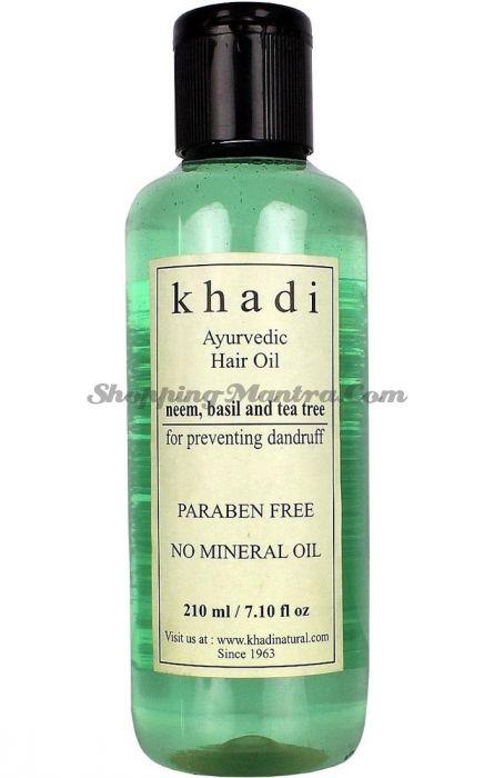 Масло для волос против перхоти Ним&Базилик&Чайное дерево без парабенов и минеральных масел / Khadi Natural Neem Teatree & Basil Hair Oil