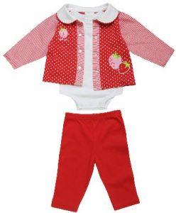 Комплект для девочки состоит из 3 предметов: кофточка, боди и штанишки