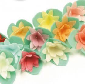Вафельный цветок КАКТУСЫ на трилистнике 3см 5шт/уп