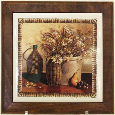 """Подставка под горячее из дерева с керамикой """"Натюрморт"""""""