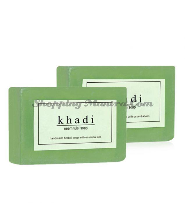 Мыло с натуральными эфирными маслами Ним&Тулси (2шт.)(Khadi Herbal Neem&Tulsi Soap)