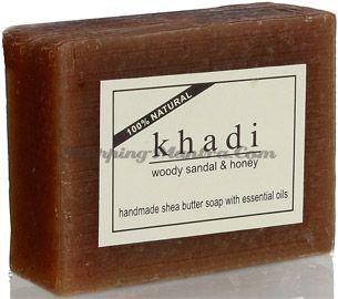 Мыло с маслом ши и эфирными маслами Сандал&Мед (Khadi Woody Sandal&Honey Soap)