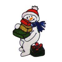 Снеговик с подарками витражная наклейка