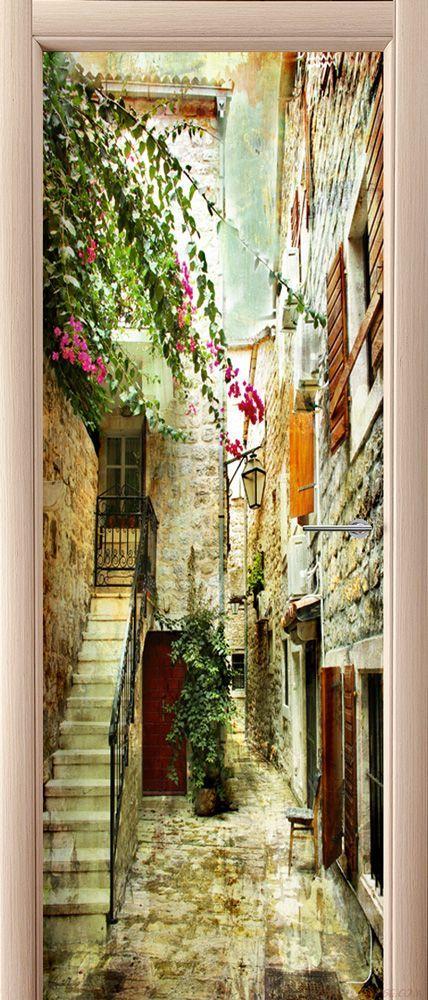 Наклейка на дверь - старые улочки Греции 2