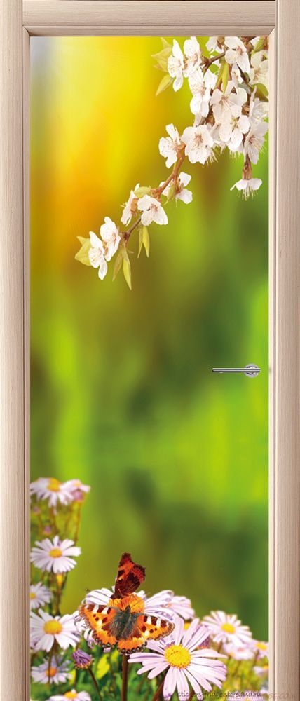 наклейка на дверь - Весна