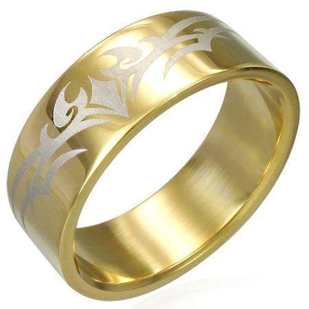 Кольцо стальное с позолотой