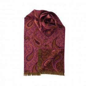 шарф 100% шерсть мериноса ,  расцветка Пэйсли (Ярко -Розовый ) -Ornate Paisley Pink.  плотность 4