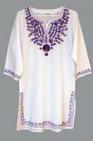 Женская индийская курта с вышивкой (сине-бордовой)