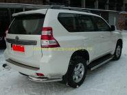 Защита заднего бампера уголки двойные 76х50 мм для Toyota Land Cruiser Prado 150 2013 -