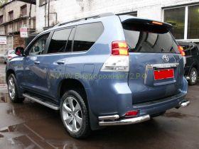 Защита заднего бампера уголки двойные 76х50 мм для Toyota Land Cruiser Prado 150 2010 -