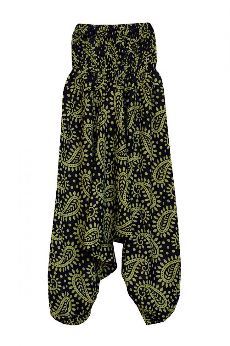 Чёрные индийские алладины с зелёным принтом (отправка из Индии)
