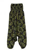 Черные индийские штаны алладины с зелёным