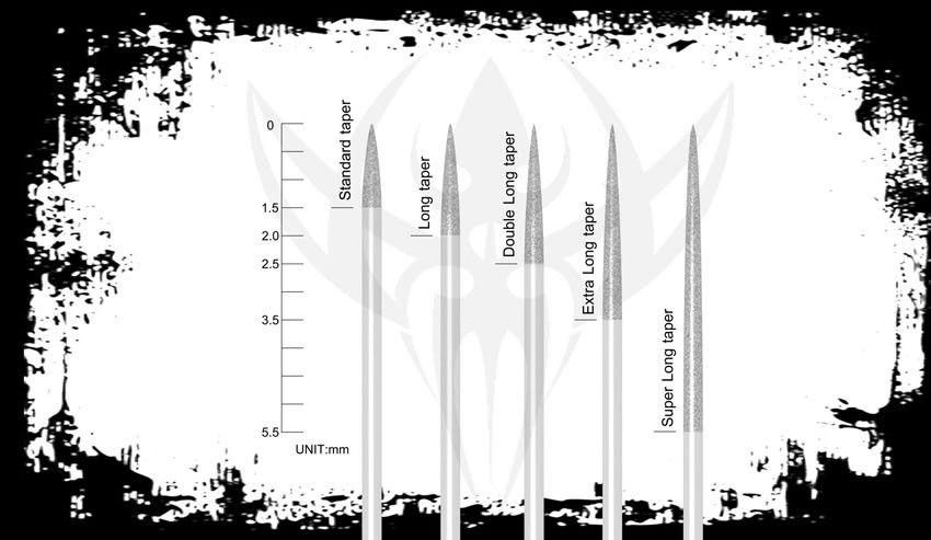 #8 BugPin 1000 Loose Tattoo Needles in a Box - LONG TAPER