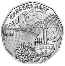 """Международный год пресной воды """"Wasserkraft"""" 5 евро Австрия 2003"""