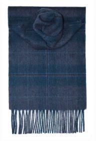 шарф 100% драгоценный кашемир , расцветка  клан Дуглас - синий тартан DOUGLAS BLUE , плотность 7