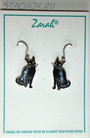 """Серьги """"Черная кошка"""" серебро 925, ювелирная эмаль"""