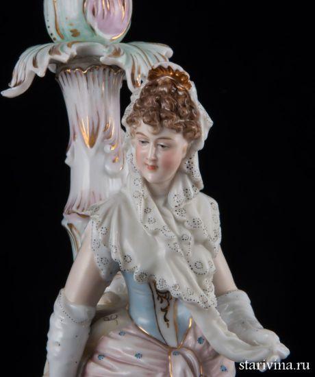 """Изображение Подсвечник """"Девушка в кружевном платке"""", E & A Muller, Германия, 19 век"""