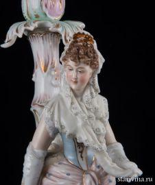 """Подсвечник """"Девушка в кружевном платке"""", E & A Muller, Германия, 19 век"""