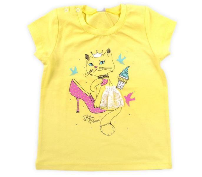 Желтая майка для девочки Кошка-Принцесса