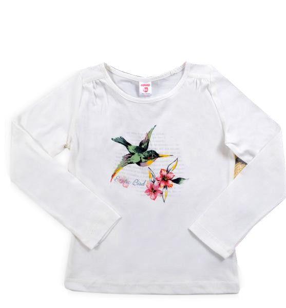 Белый джемпер для девочки Птичка