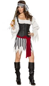 Костюм пиратки с полосатой юбкой