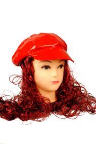 Женская кепка стиляги  с париком цвета рубин