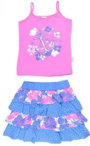розовая майка и синяя юбка для девочки