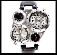 Мужские кварцевые часы с двумя циферблатами, компасом, термометром