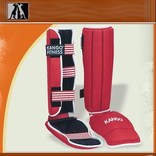 Защита голень-стопа Красная, иск. кожа, размер М, артикул 8900, KANGO
